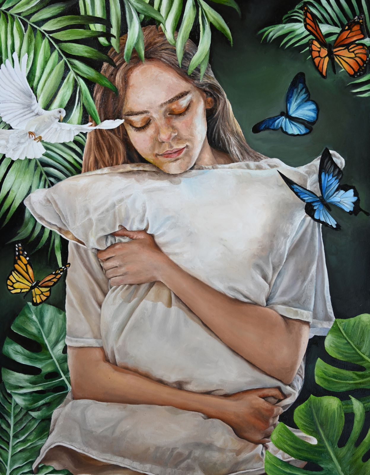 Painting of person holding pillow surrounded by plants, butterflies, and a white dove.